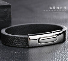 Black Genuine Leather Bracelet Wirstband Stainless steel Shiny Clasp Unisex gift