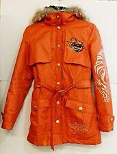 EUC Christian Audigier Unisex Size XS Brilliant Orange Zip Jacket Fur In & Out