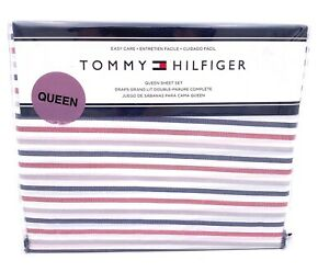 Tommy Hilfiger Flannel QUEEN Sheet Americana Faded Red White Blue Gray 4pc Set