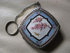 Antique Art Deco Silver T Blue Guilloche Pink Cherry Blossom Bird Dance Compact