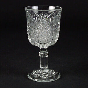 """Higbee Madora Wine Glass, Signed, Antique c.1906 EAPG Arrowhead in Oval 4 1/8"""""""