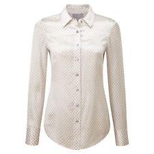 Pure Collection Blusa de seda raso-Plata Diamante impresión Tamaño: UK 8-RRP £ 120