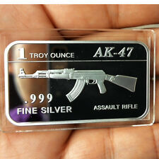 "1 Troy oz .999 Fine silver Bullion bar. ""AK-47 Assault Rifle"" design. NEW!"