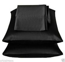 "KING -TWO SOFT ""SILKY"" SATIN / SATEEN PILLOW CASE / COVER - BLACK COLOR (1 PAIR)"