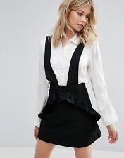 Mango Ruffle Front Skirt With Braces in Black Size L UK 12/EU 40/US 8