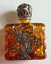 Amber Glass Miniature Czech Perfume Bottle Mini Scent Geometric Pattern Filigree