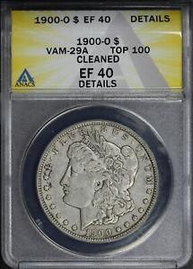 1900-O Top 100 VAM-29A Doubled Right 0, Die Break Morgan Dollar ANACS EF Details