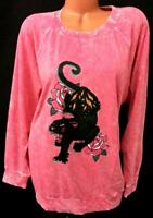 NWT  Torrid pink blended floral black panther stretch pullover sweater 4X