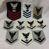 Vtg Military Navy Officer Insignia Patch Lot 10 Variant Variants CPO QM