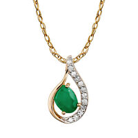 10k Yellow Gold Genuine Oval Emerald and Diamond Halo Drop Pendant Necklace