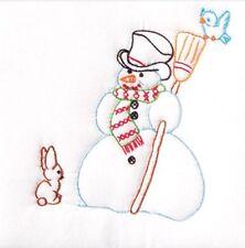 "⛄️ Stamped Quilt Blocks 9""X9"" 12 Embroidery Snowman ⛄️ Jack Dempsey Winter C2 ⛄️"