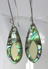 Paua or Abalone Shell Eye Sterling Silver Earrings Handmade