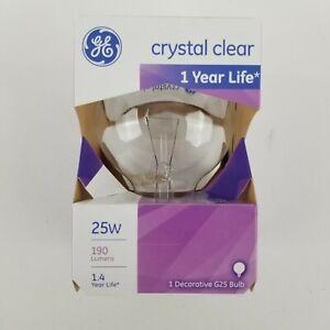Ge Crystal Clear 25w Decorative G25 Medium Base Bulb 1 Year Life 12983