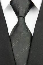 JA0079 Black White Striped Classic Jacquard Woven Silk Men's Necktie Tie New