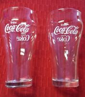 "VINTAGE 1970'S ◇ 6"" Tall COCA-COLA GLASSES ◇ 2 CLEAR GLASSES WHITE LETTERING"