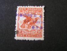 NEW ZEALAND, SCOTT # 118a, 1/- VALUE ORANGE RED 1902-07 HAWK-BILLED PARROTS USED