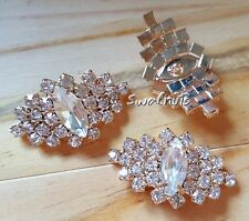 2pcs Clear Crystal Rhinestone Diamante Shank Sew on Buttons 33mm - GOLD tone