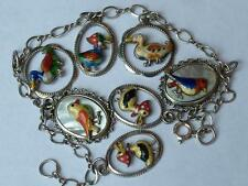 SUPERB VINTAGE ART DECO GERMAN SILVER ENAMEL BIRDS CHARM BRACELET - c1930's