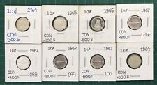 8 - Canada Silver 10 Cent 4 Fish Centennial  Coin 1967 1965 1964 Dimes