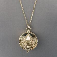 Antique Gold Chain Fleur De Lis Magnifying Glass Tassel Pendant Necklace