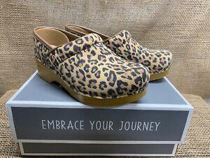 NIB Dansko 106-081212 Women's Professional Suede Leopard Clogs 37