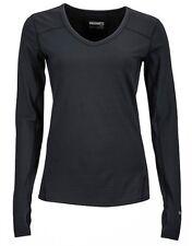 Marmot - Ls V Cuello Mujer, Camiseta Funcional de Manga Larga para Negro Talla L