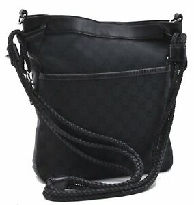 Authentic GUCCI Shoulder Cross Body Bag GG Canvas Leather 109097 Black E0261