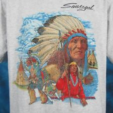 vintage 90s NATIVE AMERICAN T-Shirt LARGE horse cowboy indian nature wolf thin