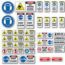 Wood Chipper risk assessment site approved safety stickers full kit 36 piece