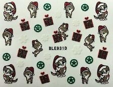 Nail Art 3D Glitter Decal Stickers Christmas Kitten Cat Presents BLE931D