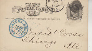 RARE UX5 WHITE FANCY CXL MILWAUKEE,WISC. JAN 19 1876 BLUE CHICAGO,ILL CARRIER