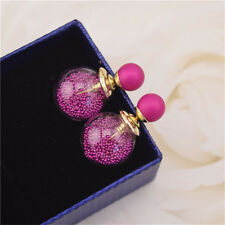 Women Rhinestone Crystal Beads Double Sided Earring Two Ball Earrings glass Ball