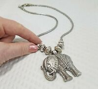 Vintage Eastern Silver Plated Elephant Pendant and Serpentine Choker Necklace