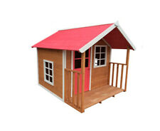 1 Kids Outdoor Wooden Playhouse 172x140x136cm With Pink Roof