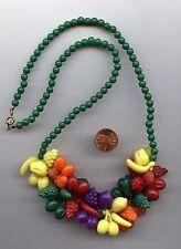 """Adorable Vintage Rainbow Plastic Fruit Salad Charm Necklace 22"""""""