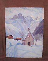 Intéressante peinture à l'huile - Paysage des Alpes - signée W BOOG