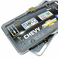 2 Chevrolet Bowtie Logo Chrome License Plate Tag Frames for Auto-Car-Truck