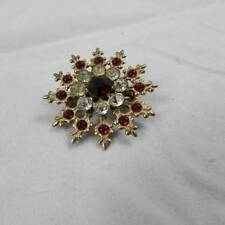 Goldtone Starburst Brooch with Ruby Red & White Stones (16421401)