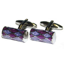Purple & Lilac Cylinder Cufflinks With Gift Pouch Glitter Diamonds Crystal New