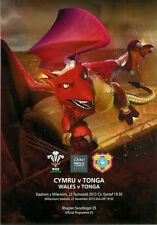 WALES v TONGA 2013 RUGBY PROGRAMME, 22 Nov, CARDIFF,