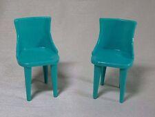 Set of 2 Green Vintage Plasco Dollhouse Kitchen Chairs