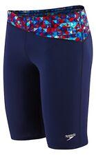 New Men Speedo Nano Fracture Jammer Swimsuit Navy Red White Size 34 #8051500