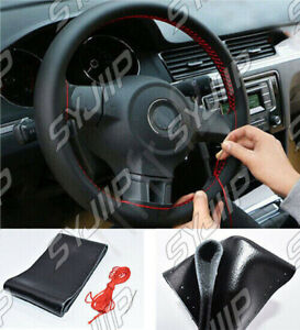 """Car Steering Wheel Cover 38cm/15"""" Auto Cool Universal Fit Anti-slip Black/Red"""