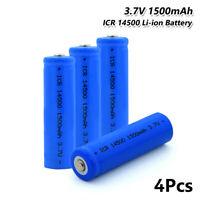 4x Wiederaufladbare ICR 14500 Li-Ion Batterie 3.7V Taschenlampe Scheinwerfer 10