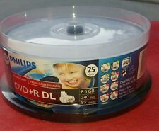 10 PHILIPS FACTORY NEW DVD+R DL DUAL DOUBLE LAYER 8.5GB 24OMIN 8X GRADE A