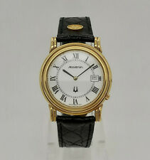 Bulova Accutron 27B07 Gold Tone White Dial Black Croco Leather Swiss Mens Watch