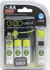 Eco Cell - USB Cell Rechargeable AA Batteries (4-Pack)