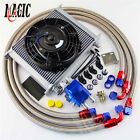30 Row 10an Universal Engine Transmission Oil Cooler Kit 7 Electric Fan Kit
