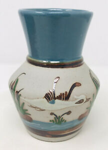 """Tonala Hand Painted Flying Bird Duck Cat Tails Vase Mexican Pottery 5.75"""""""