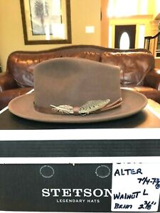 "STETSON ""ALTER"" WALNUT LARGE 7 1/4 - 7 3/8 GREAT FEDORA!"
